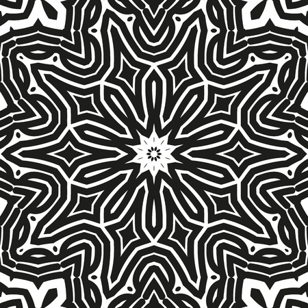Abstract seamless black and white pattern from flowing lines. Dynamic background maze. Graphic pattern for the ceiling, floor and walls. Illustration