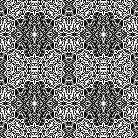 Abstract seamless black and white pattern from flowing lines. Dynamic background maze. Graphic pattern for the ceiling, floor and walls. Illusztráció