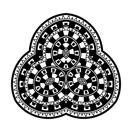 Decorative element with a geometric pattern in the Greek style. Rosette of geometric elements. Stencil Tattoo and prints.