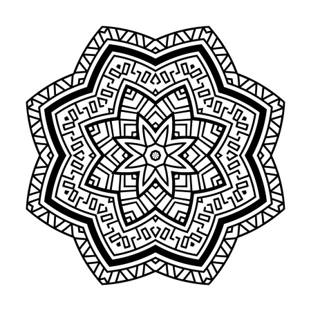 Round pattern in the Greek style. Rosette of geometric elements. Stencil Tattoo and prints. 向量圖像