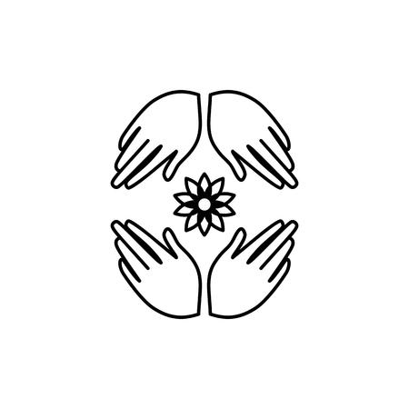 Handmade symbol. Hands with a flower logo. Element for yoga studio design, crafts, artels.