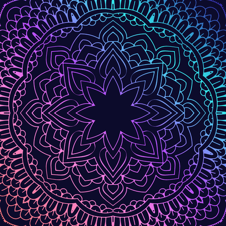 Yoga bright background. Template with a mandala in acid color on a dark substrate for banners, sites of spiritual development, posters. Illustration