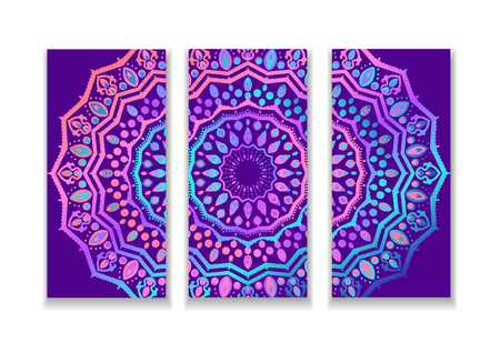 Yoga bright background. Template with mandala in acid color for studios of spiritual development, meditation and wellness centers.