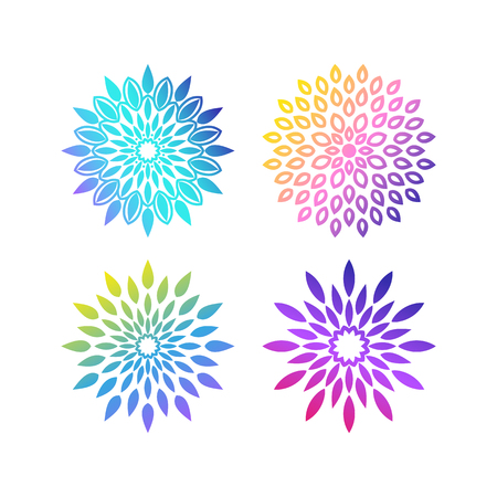 A set of bright mandalas with gradient of acid color. Circular ornaments in turquoise, pink, purple, blue, yellow, green colors. Yoga template.