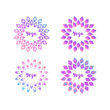 Yoga logo template. Round decorative element with ethnic motives. Illustration