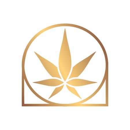 Cannabis green silhouette icon. Hemp of emblem. Ganja symbol. Green manufacturing.