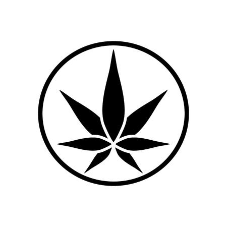 Icône de silhouette verte de cannabis. Chanvre de l'emblème. Symbole de Ganja. Fabrication verte.