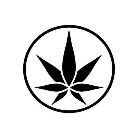 Cannabis green silhouette icon. Hemp of emblem. Ganja symbol. Green manufacturing.