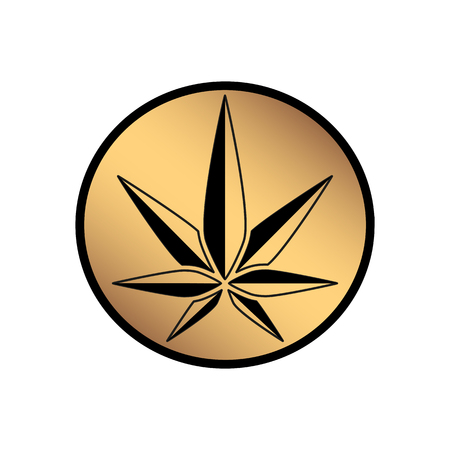 Cannabis green silhouette icon. Hemp of emblem. Ganja symbol. Green manufacturing. Banque d'images - 101738839