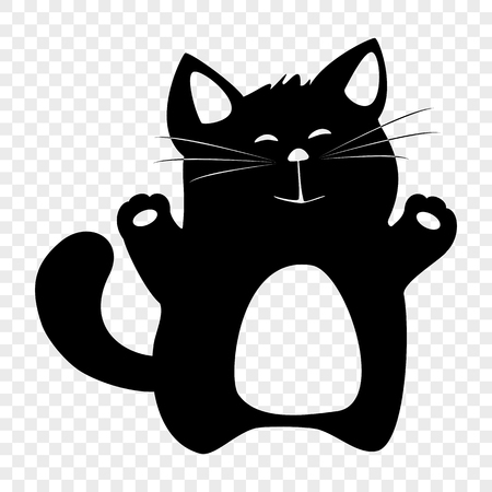 Black silhouette of a figure of a thick cat pattern for printing on fabric, T-shirts, other products. Element for the design of the pet store, cat shows, children's holiday.