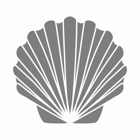 Silhouette print shell scallop. Template for the design of goods with a marine theme.