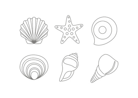 Set of hells and starfish outline drawing Иллюстрация