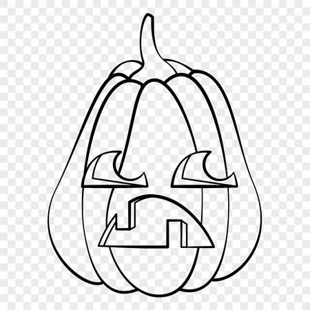 Sad face Halloween pumpkin emotion outline drawing for laser cutting, festive decor, stickers.