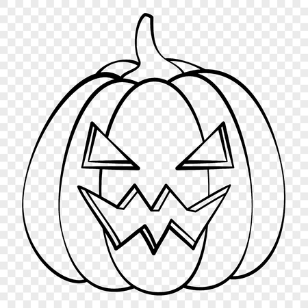 Spooky face Halloween pumpkin emotion outline drawing for laser cutting, festive decor, stickers.