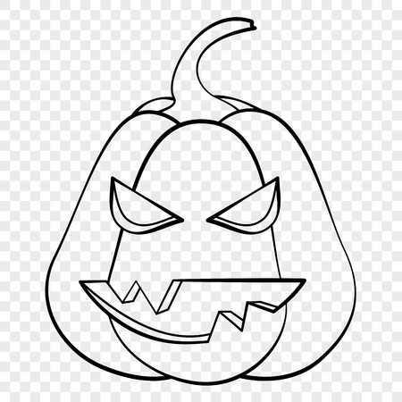 Evil face Halloween pumpkin emotion outline drawing for laser cutting, festive decor, stickers.
