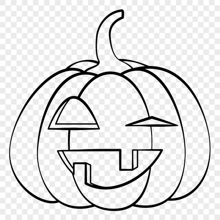 Laughing face Halloween pumpkin emotion outline drawing for laser cutting, festive decor, stickers. Illustration