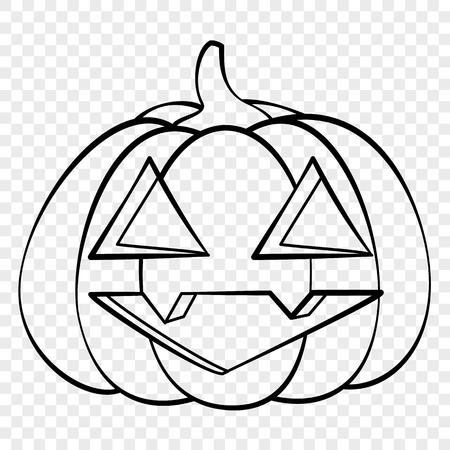Cheerful face Halloween pumpkin emotion outline drawing for laser cutting, festive decor, stickers. Illustration
