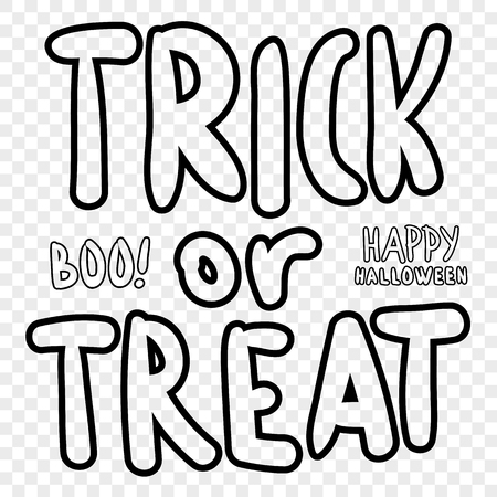 Trick or treat. Halloween digital stamp. Laser cutting templates. Inscriptions for decoration. Archivio Fotografico - 111563916