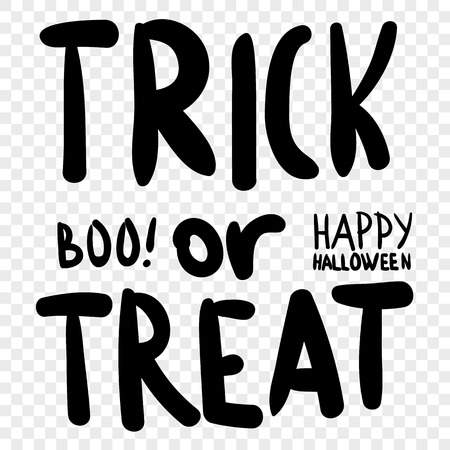 Trick or treat. Halloween digital stamp. Laser cutting templates. Inscriptions for decoration. Archivio Fotografico - 111563917