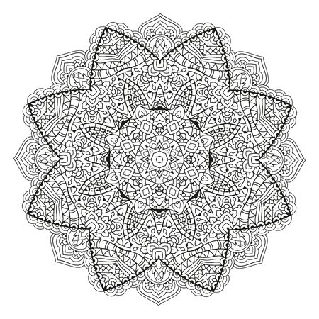 Mandala. Black and white decorative element. Picture for coloring. Round pattern Stok Fotoğraf - 129484963