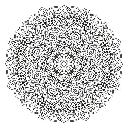 Mandala. Black and white decorative element. Picture for coloring. Round pattern Çizim