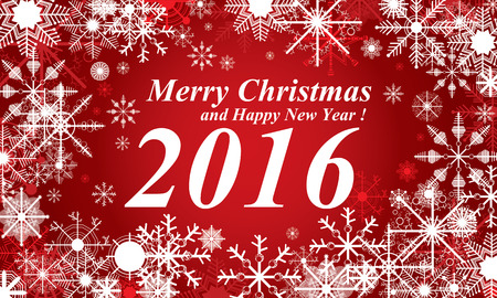 Merry Christmas and Happy New Year 2016. The white snow on the red background.