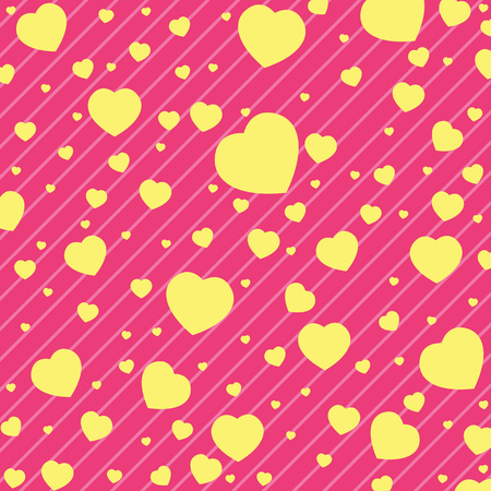 yellow heart: Valentines Day and yellow Heart on Pink background. Vector Valentines Day Background.