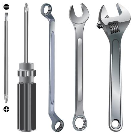 werkzeug: Handwerkzeug. Hand-Werkzeug isoliert auf wei�em Hintergrund. Illustration