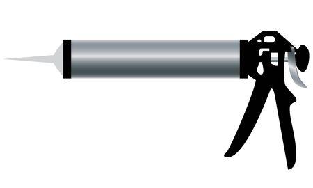 caulk: Tool. Hand tool. Aluminum Caulking Gun isolated on white background. Illustration