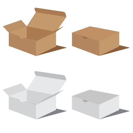 brown box: White and brown box packaging. Packaging Design. Illustration