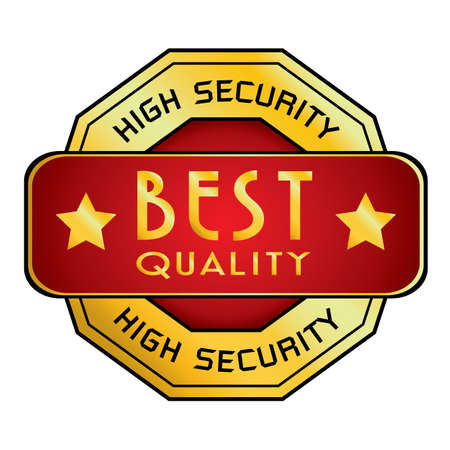 best quality: High Security  Best Quality . High Security  Best Quality isolated on white background. Illustration