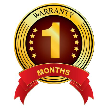 months: Warranty for One Months Design isolated on white background. Warranty for Months. Illustration