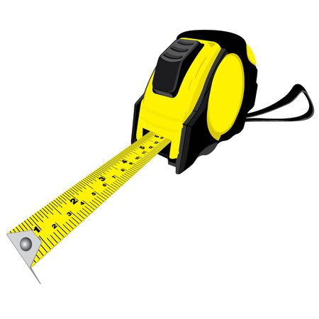 millimeters: Tape measure isolated on white background. Illustration