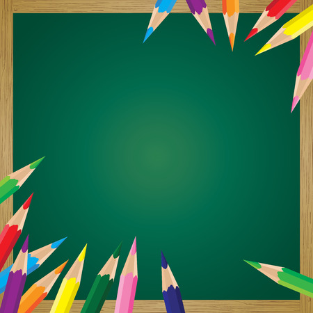 green board: Board wood with colorful pencil background. Colorful pencil on a green board.