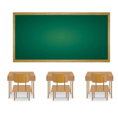 Bienvenue à l'école et en classe. Illustration d'une salle de classe vide. Vecteurs
