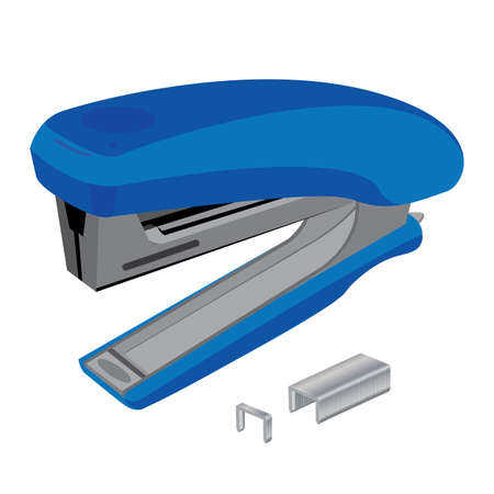 staples: Stapler and staples. Stapler and staples isolated on white background. Object tool. Business Object tool.