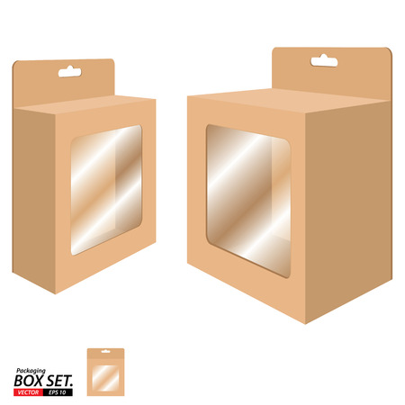 stockpile: Box Packaging Design. Packaging Box for Brown Paper isolated on white background. Illustration