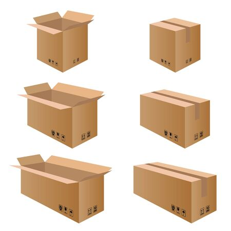 brown box: Collection box packaging. Packaging Box for Paper isolated on white background. Illustration
