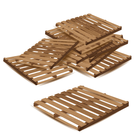 removals: Wooden pallet isolated on white background.Wooden pallets to transport and freight transport.