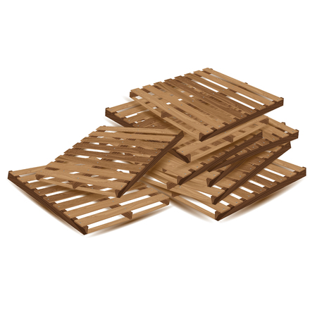 removals: Wooden pallets to transport and freight transport isolated on white background. Wooden pallets in perspective.