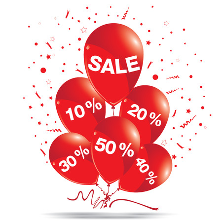 red balloons: Red balloons with sale isolated on white background. Discount for sale on a balloons concept.