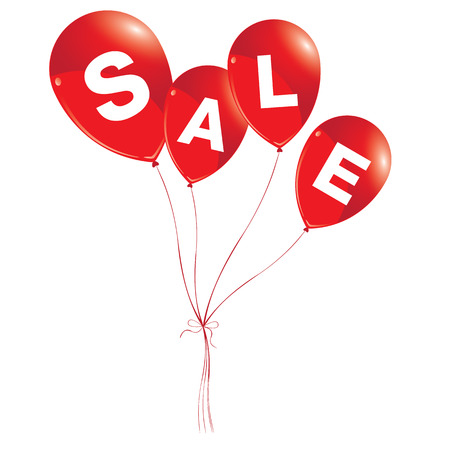 red balloons: Balloons concept of SALE for shops and event. Red balloons with sale on white background.