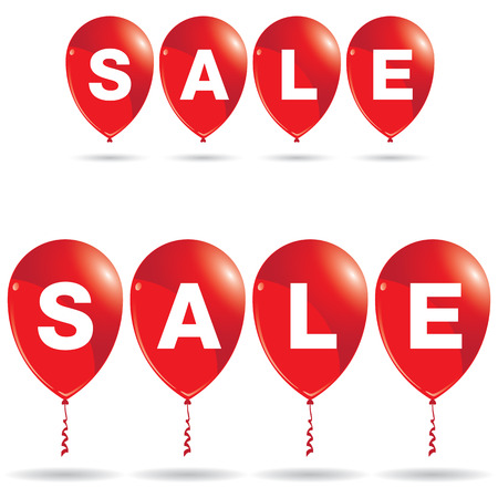 red balloons: Red balloons with sale discount isolated on white background. Balloons with sale.