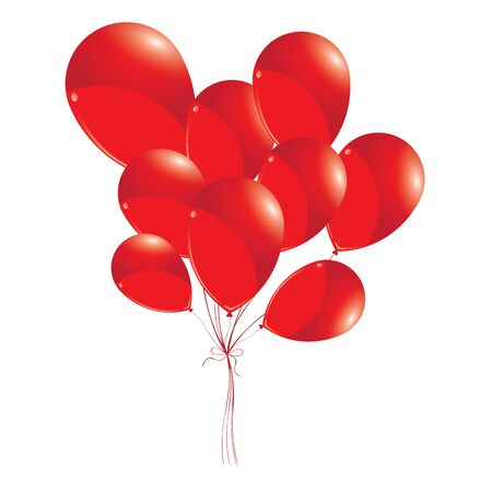 red balloons: Red balloons isolated on white background. Red balloons for Holiday and Event. Illustration