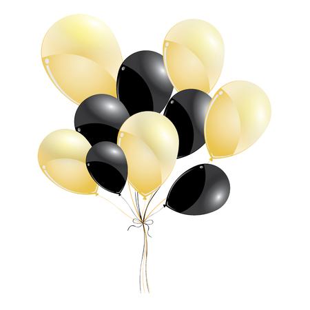 Oro y globos negros aislados sobre fondo negro. globos negros y oro para vacaciones y eventos.