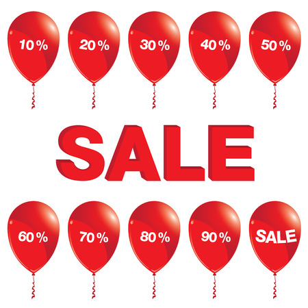 red balloons: Red balloons with sale. Red balloons with sale isolated on white background.