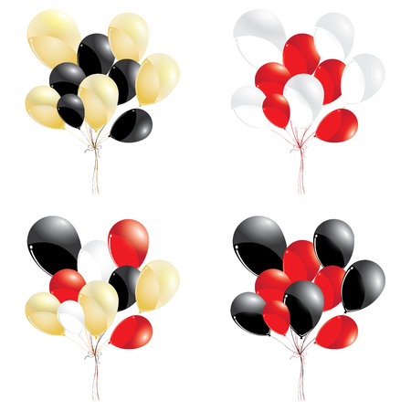 Red and black balloons. Gold with red and white balloons isolated on white background. Multicolored balloons. Ilustrace