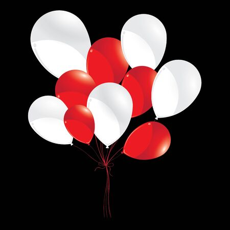 red balloons: Red and white balloons isolated on black background. White and red balloons for Holiday and Event.