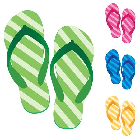 slippers: Slippers set. Multicolored slippers isolated on white background. Slippers Design.