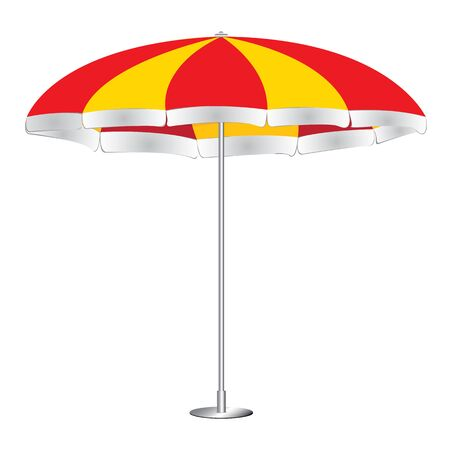 yellow umbrella: Beach umbrella isolated on white background. Red and yellow Umbrella.